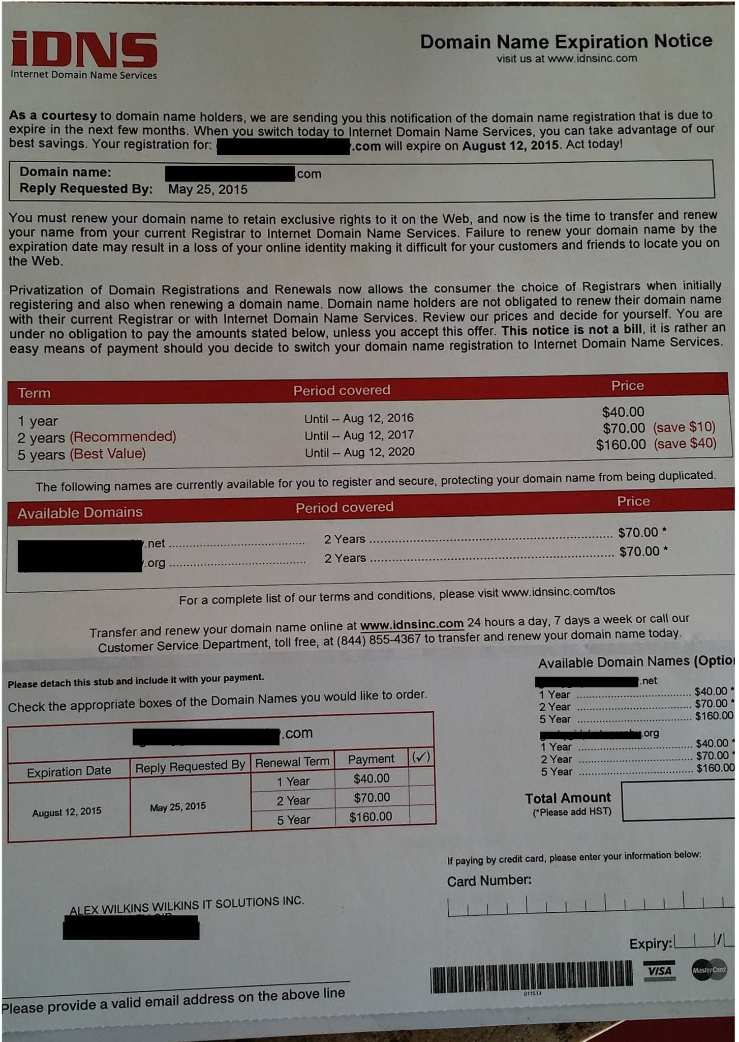 Domain Renewal Letter Scam