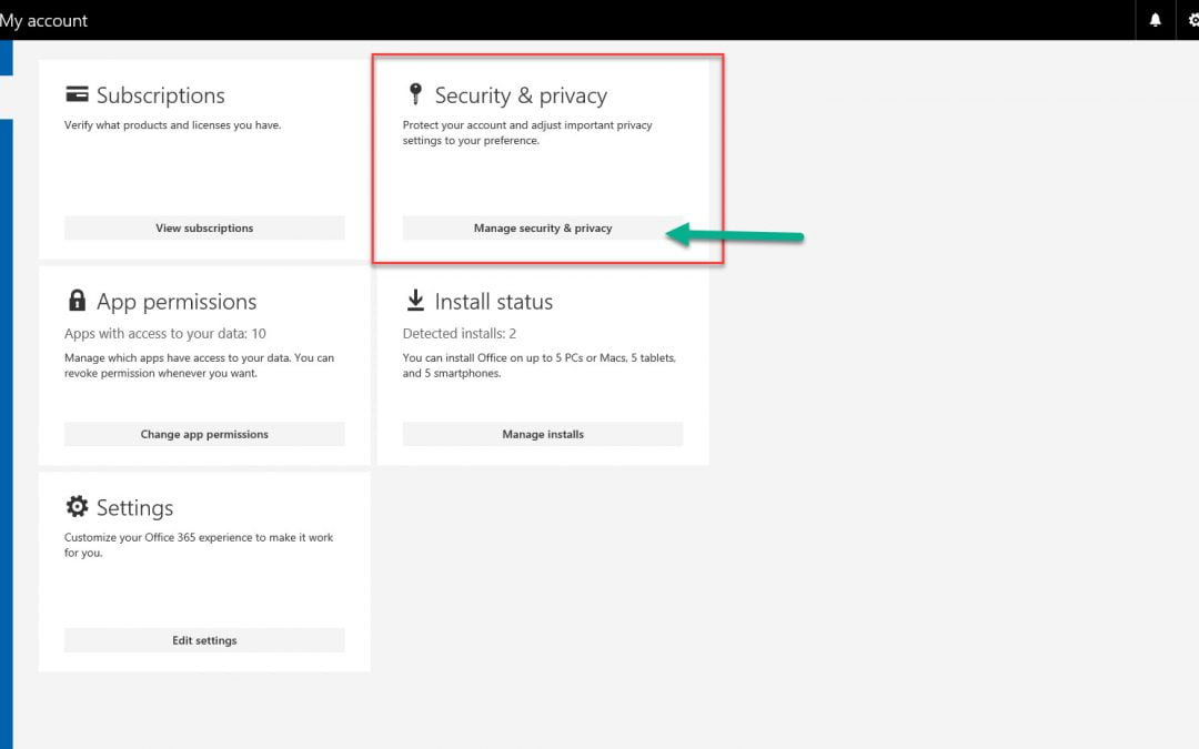 Resetting your password in Office 365