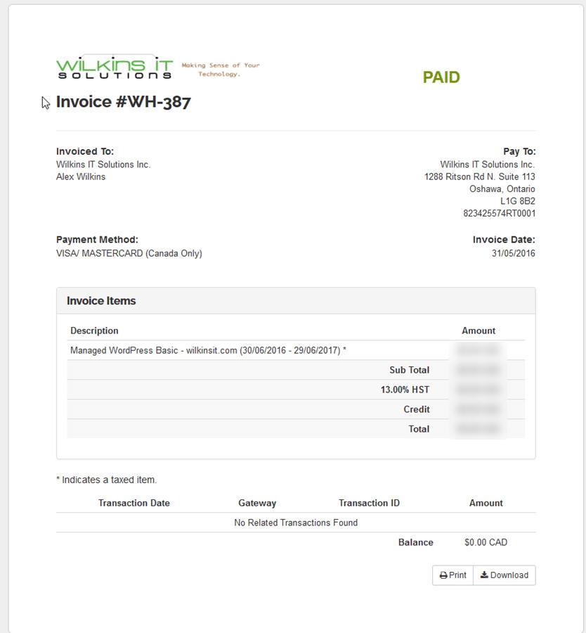 WilkinsIT.Domains Invoice