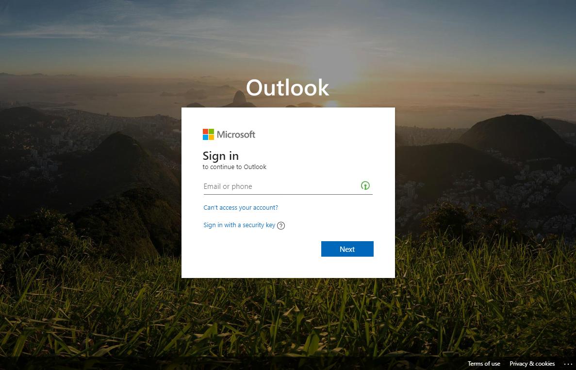 Office 365 Login Screen